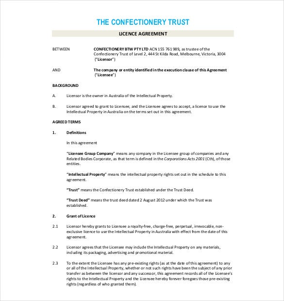 License agreement template 10 free word pdf document for Intellectual property licence agreement template