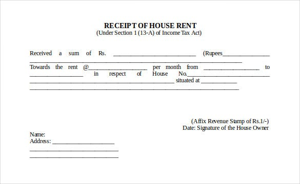 House Rent Receipt Format  House Rent Receipt Sample