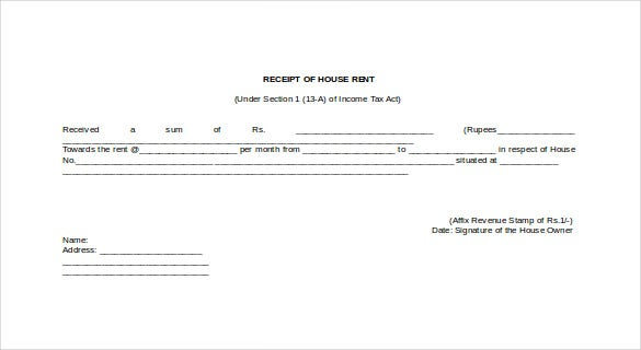 Rental Receipt Template 30 Free Word Excel PDF Documents – House Rent Format