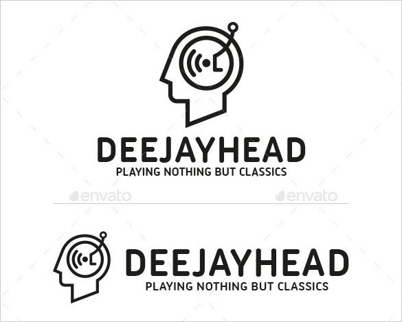 dj head logo template eps download