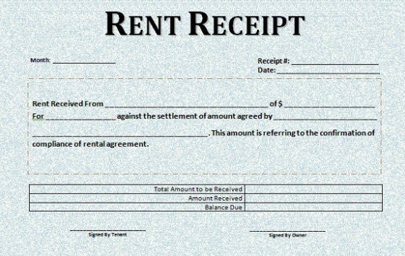 Rental Receipt Template 30 Free Word Excel PDF Documents – Rent Receipt Format India