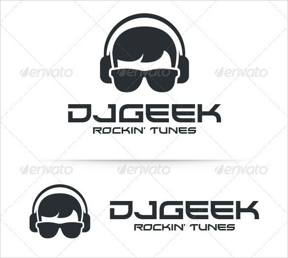 dj geek logo template ai illustrator download
