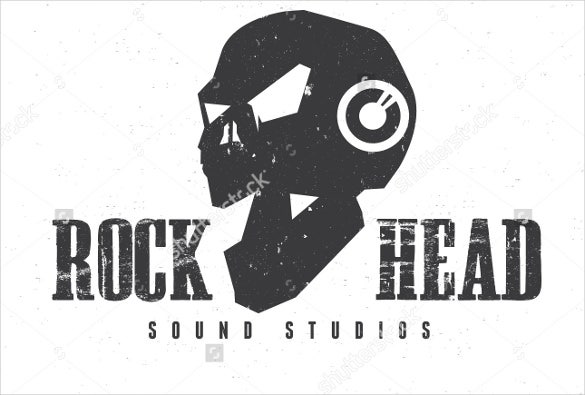 rock head skull dj logo template download