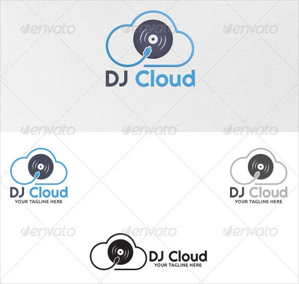 dj cloud logo template eps format