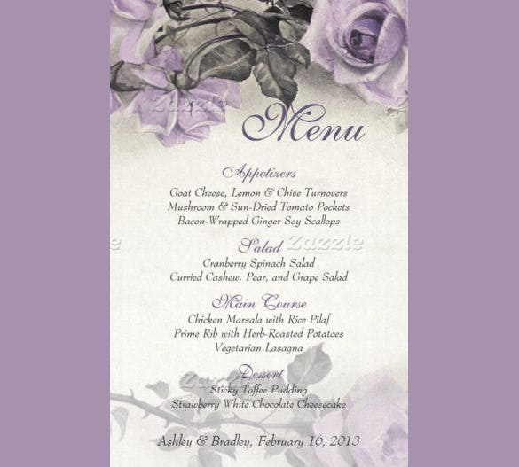 hand paint birthday menu card template