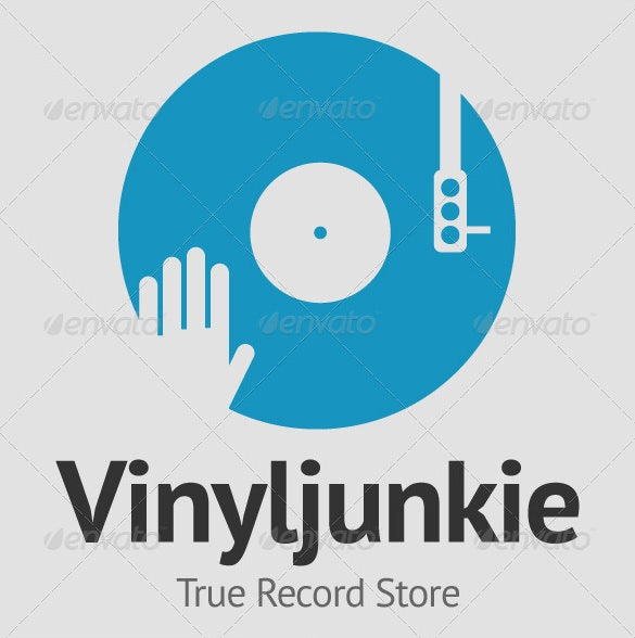 scratch vinyl dj logo template photoshop editable