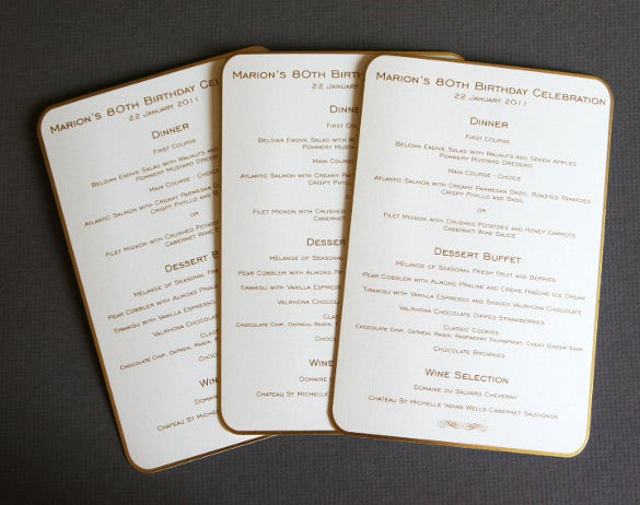 Birthday Menu Templates  Free Sample Example Format