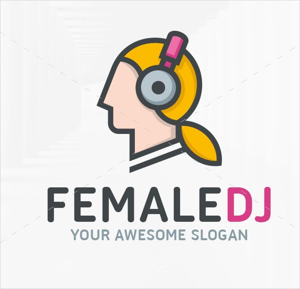 female dj logo template eps download