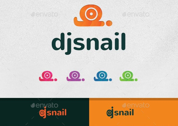 dj snail logo template editable download