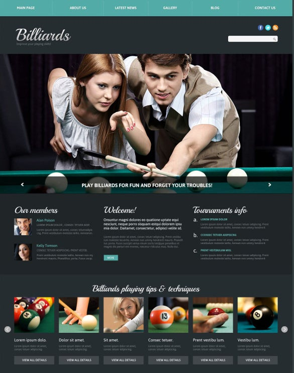 billiards responsive gaming joomla template