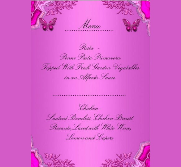 birthday dinner menu card with pink butterfly floral design