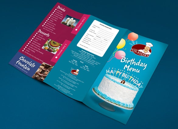 simple birthday menu card design