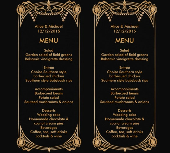 elegant multipurpose birthday menu card