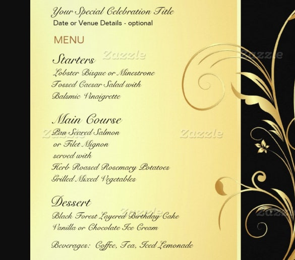 30  birthday menu templates