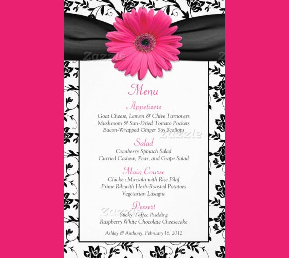 birthday menu card design with flower