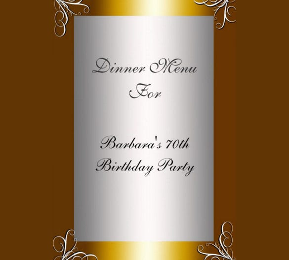 attractive birthday menu card template