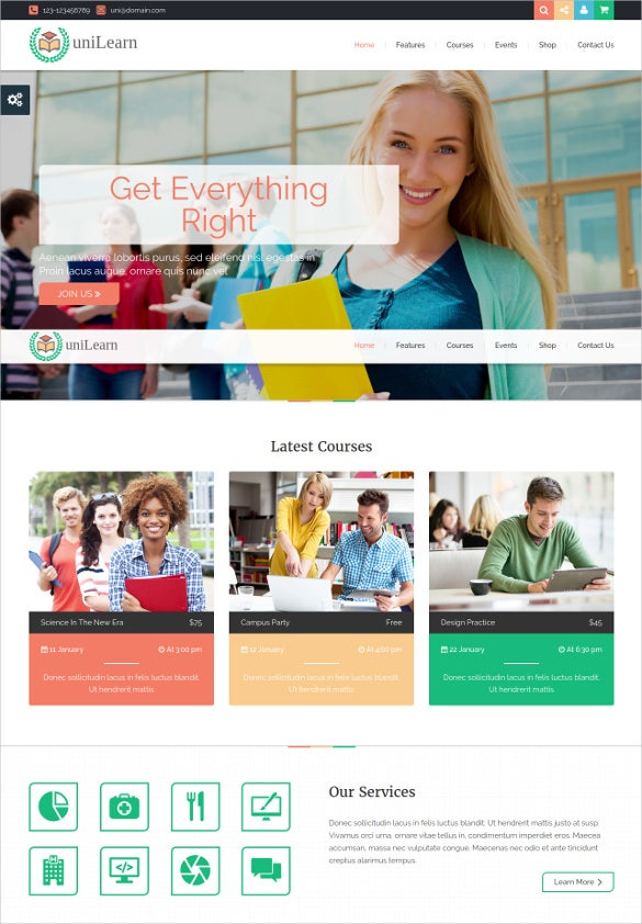 education courses online library template