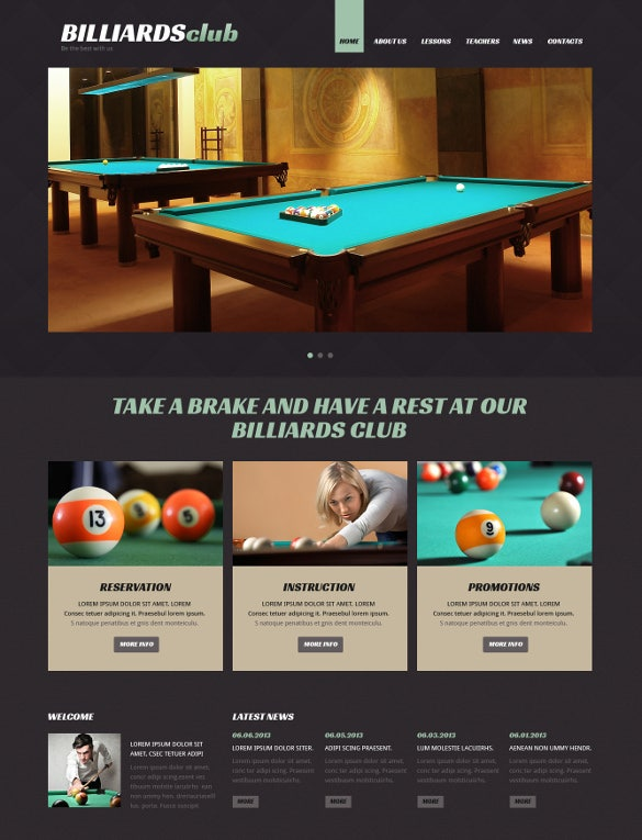 superb billiards responsive joomla template