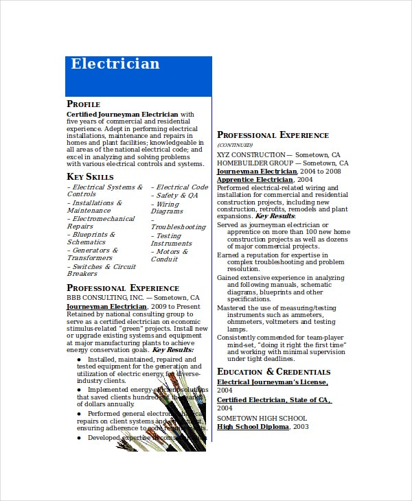 Journeyman Electrician Resume Template  Electrician Resume Templates