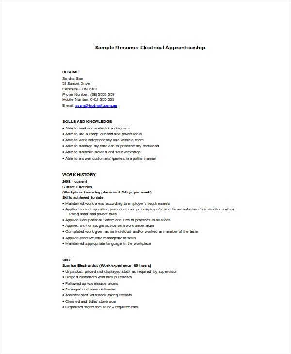 Apprentice Electrician Resume Template  Electrician Resume Templates