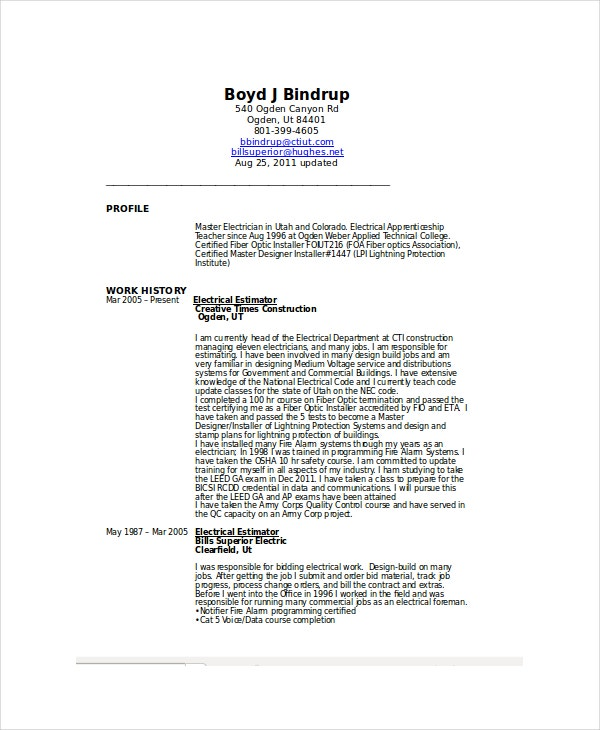 sample resume for electrical technician