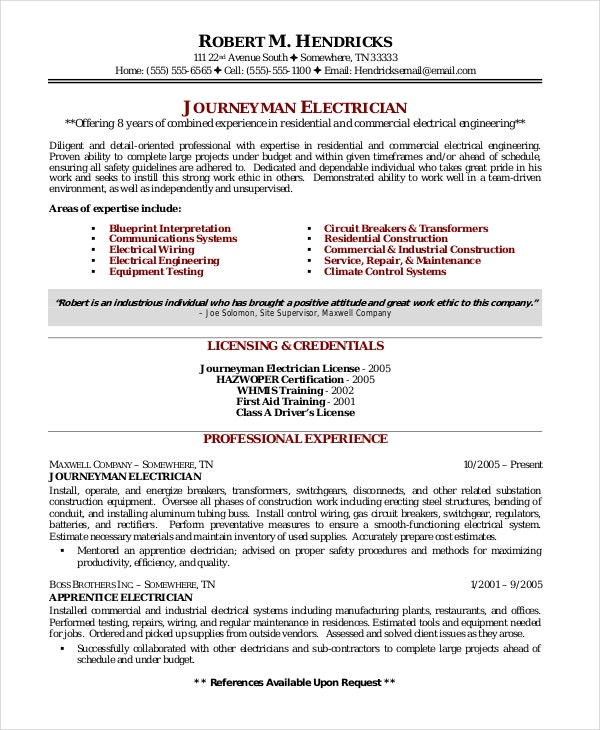 maintenance electrician resume template - Sample Electrician Resume