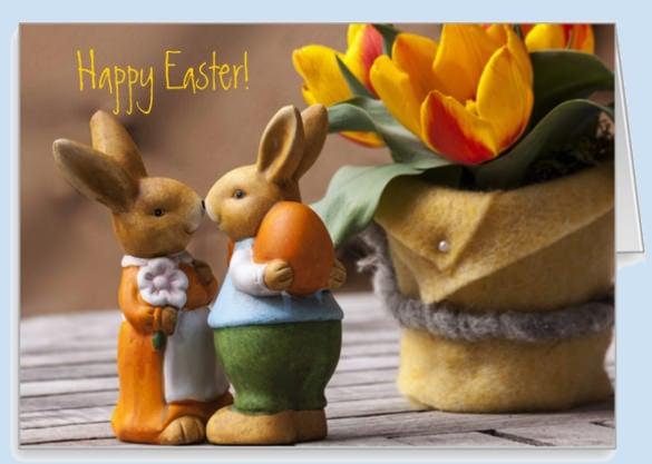 sample easter bunny kiss greeting card