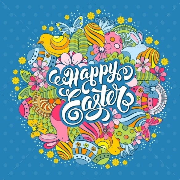 blue background sample easter greeting card
