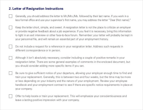 Resignation Letter Template 28 Free Word Excel PDF Documents – Resignation Format Word