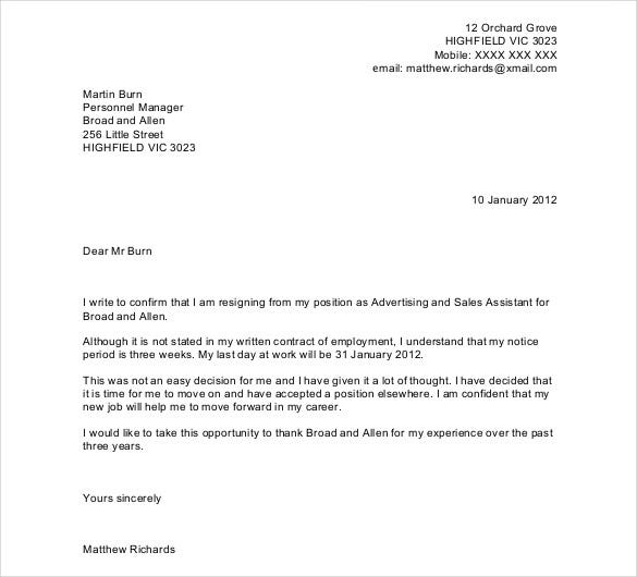Resigning Letter. Resignation Letter No Notice In Pdf Sample ...
