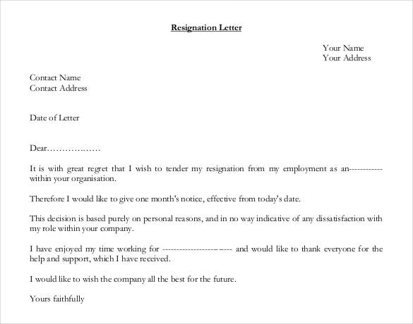 Resignation Letter Template 28 Free Word Excel PDF Documents – Samples of Resignation Letters with Regret