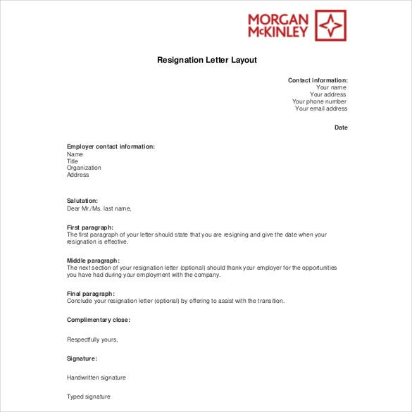 resignation letter layoout free download pdf template