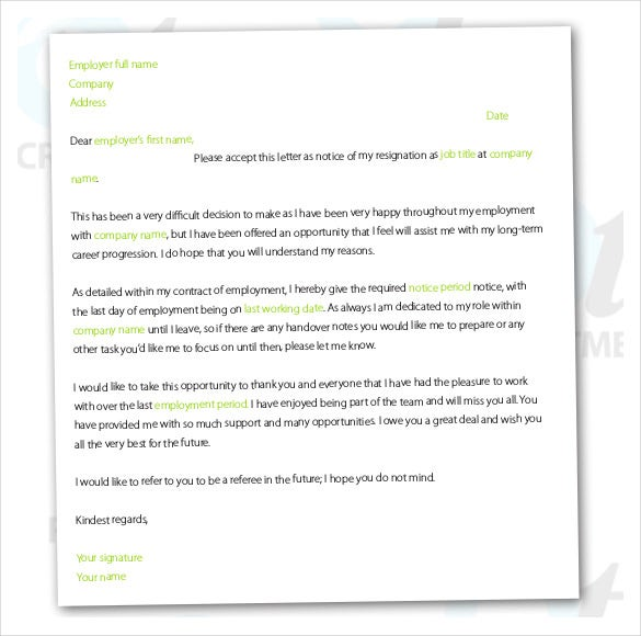 Resignation Letter Template – 28+ Free Word, Excel, Pdf Documents