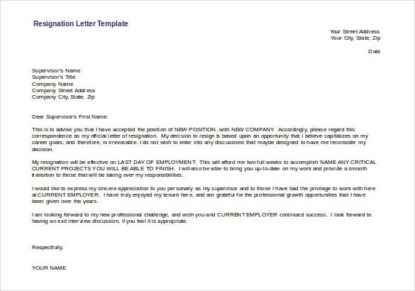 resignation letter template free download doc format