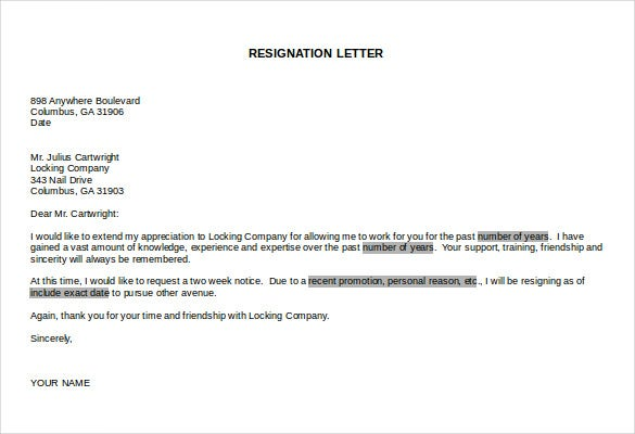 free doc resignation letter download template