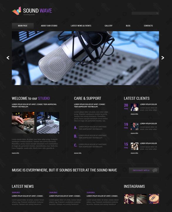 recording studio music responsive joomla template