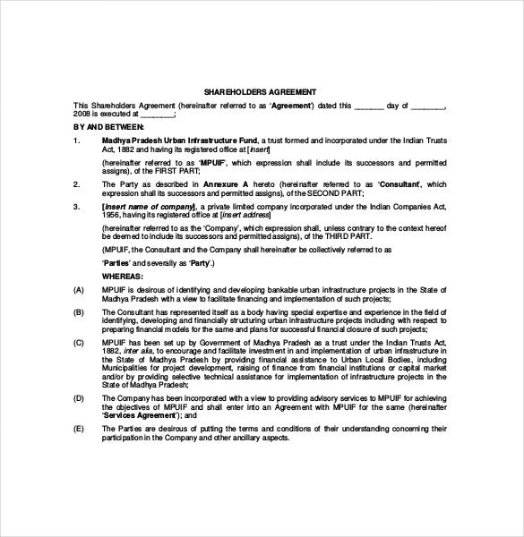 Shareholder agreement templates 11 free word pdf for Shareholder buyout agreement template