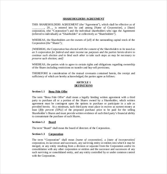 Shareholder Agreement Template – 8+ Free Word, Pdf Document