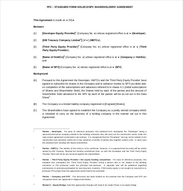 standard form shareholders agreement