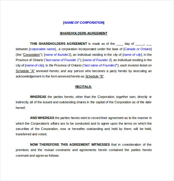 Shareholder Agreement Templates   Free Word Pdf Document