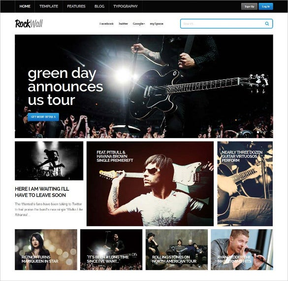 rock band music joomla template