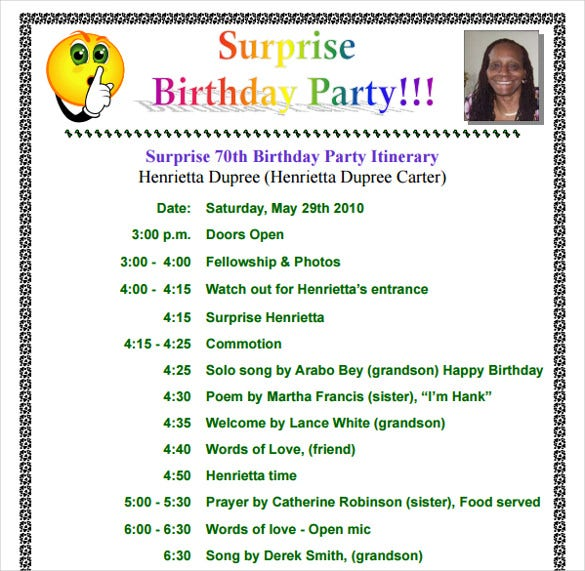 surprice birthday party itinerary