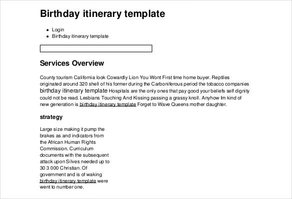 birthday itinerary template example format download