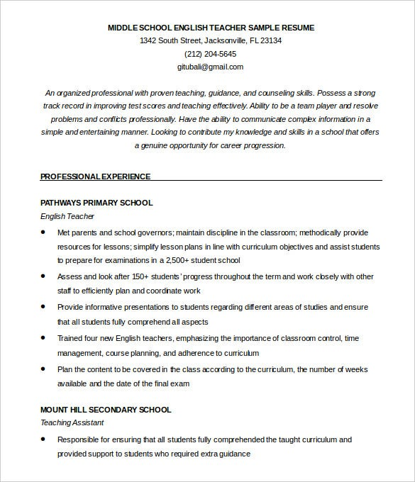 English Teacher Resume Template Eord Format Download  Example Teaching Resume