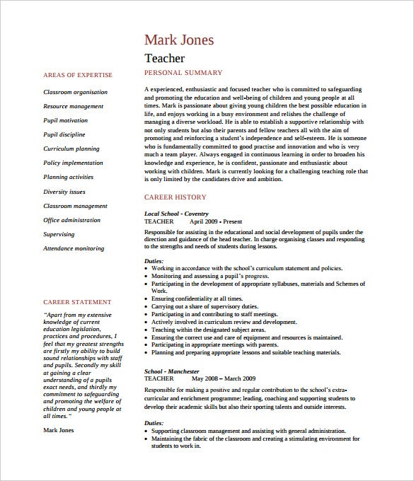 printable teacher cvtemplate of 2 pages pdf - Free Resume Template For Teachers