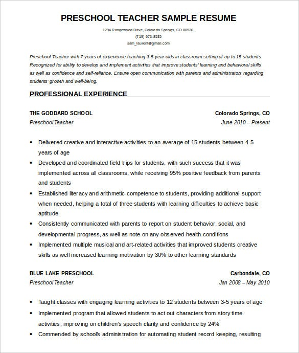 Perfect Sample Preschool Teacher Resume