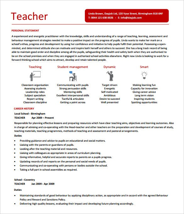 dayjobcom this is a teacher resume template has details like objective job responsibilities career history qualification and teaching skill summary as
