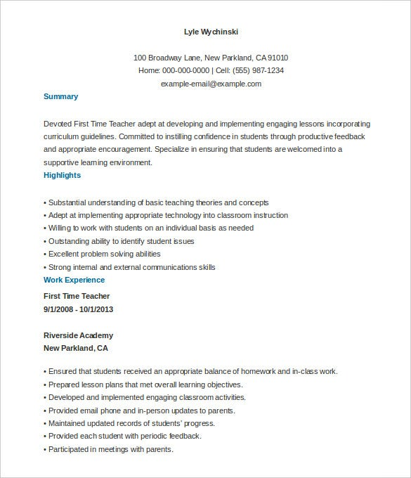 Job Resume Sample First Time Teacher Resume Template Free