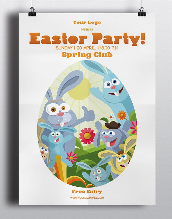 easter poster on gray background template download
