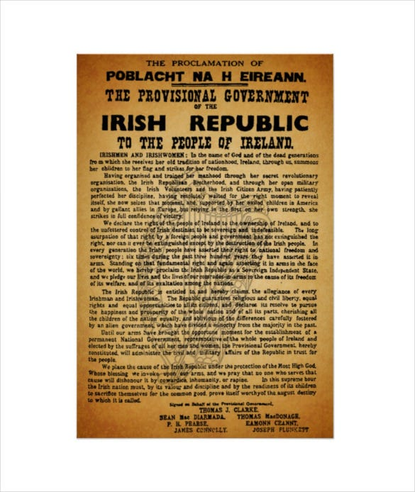 easter rising irish proclamation poster template download